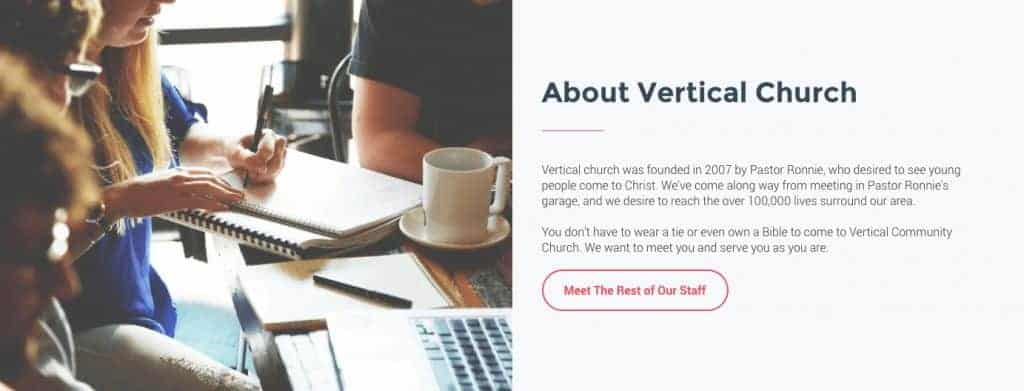 church website strategy example 2 about vertical church