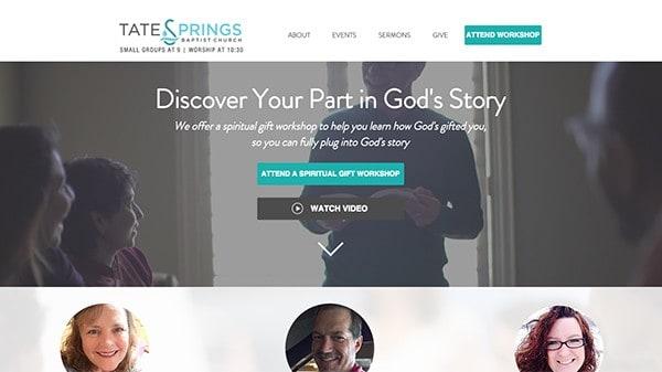tate springs baptist church Arlington using storybrand for churches on their website