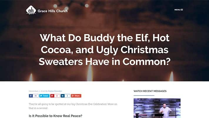 grace hills church website blog screenshot what do buddy the elf hot cocoa and ugly christmas sweaters have in common