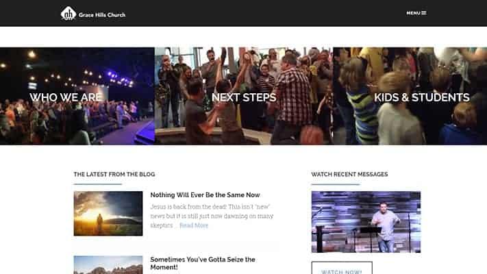 grace hills church website design
