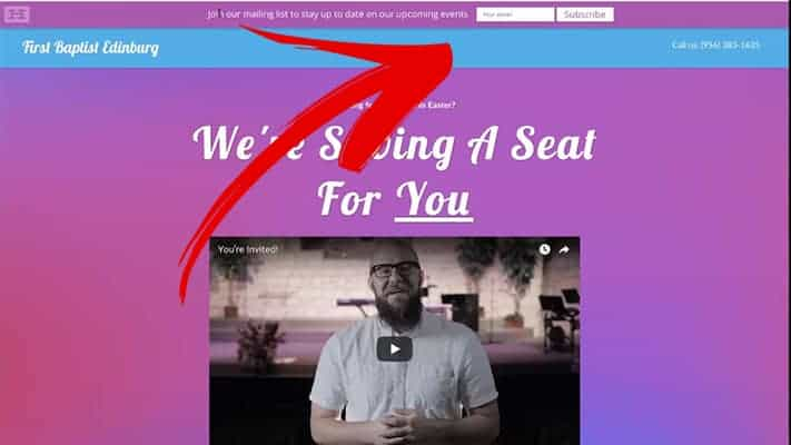 demo of a hello bar  to grow your church email list