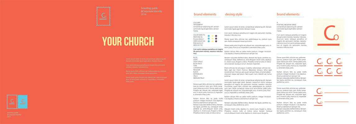 mockup of a church style guide
