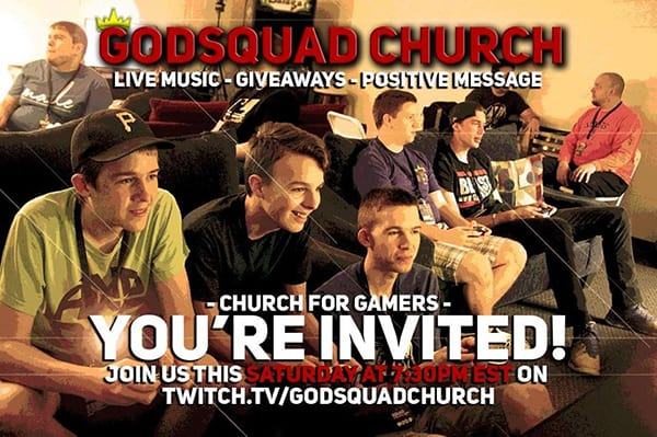 young adults sit in a living room casually. text overlay godsquad church live music giveaways positive message youre invited join on twitch